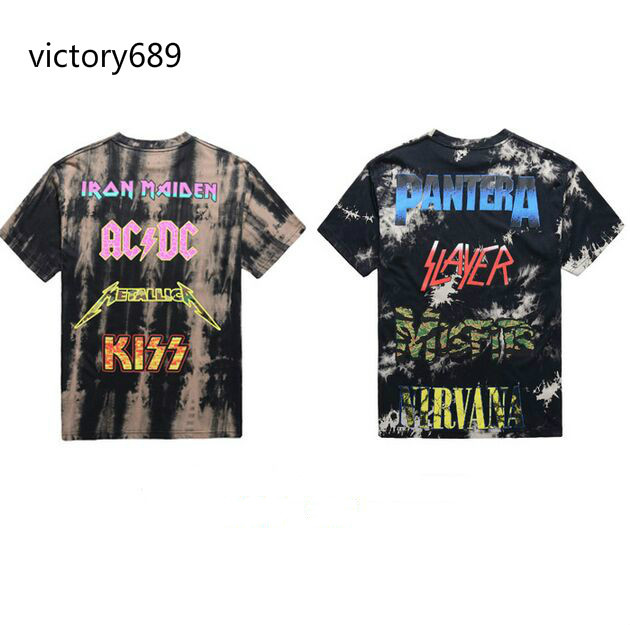 NEW harajuku swag streetwear kpop big and tall mens t shirts fashion 2016 hip hop rock tshirts iron maiden metallica tie dye(China (Mainland))