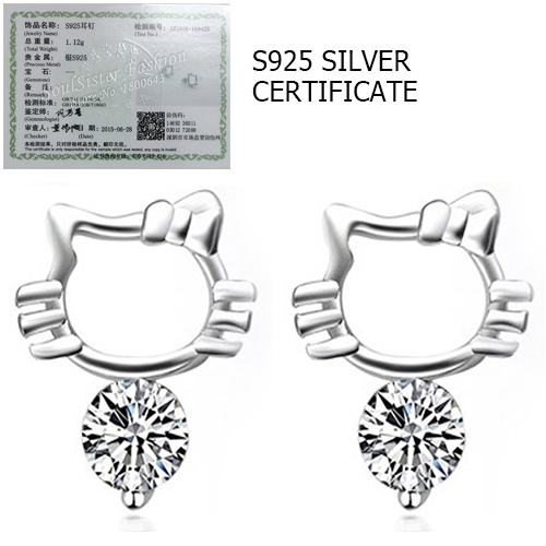 Real 925 Sterling Silver Hello Kitty Stud Earrings with Created Diamond Cubic Zircon for Women Girls Gift(China (Mainland))