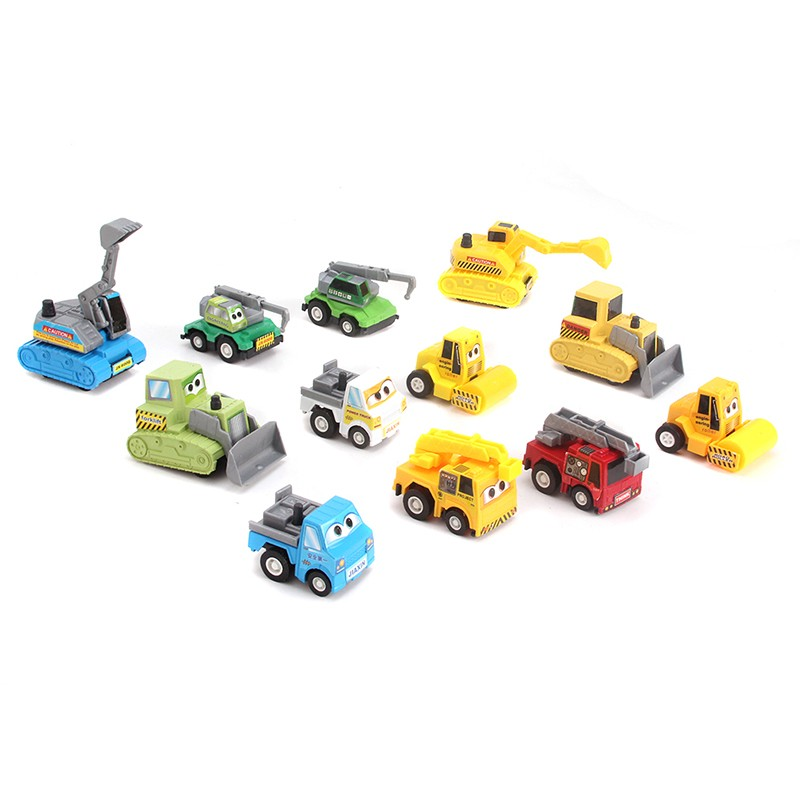 12pcs/1Set Baby Toys Child Gift Pull Back Toy Car Machine Truck Mini Cars models Tractor Excavator(China (Mainland))