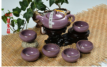 7pcs luxurious Ice Crack Glaze teaset, Kung Fu Teapot,china tea cup,porcelain coffee set,Purple color,T09