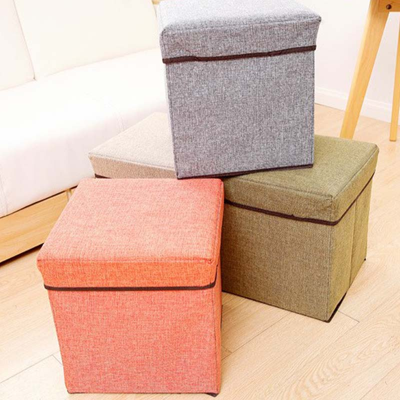 New Arrival Folding Storage Foot Stool Seat Modern Flax Footrest Foldable Storage Home Furniture Storage Box Livingroom Tools(China (Mainland))