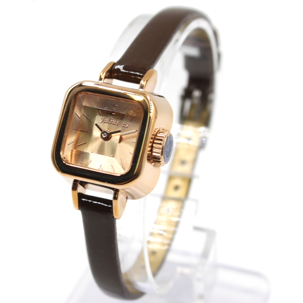 New Brown Slim Faux Leather Band Square Rose Gold Tone Watchcase Ladies Women Fashion Watch FW957A(China (Mainland))