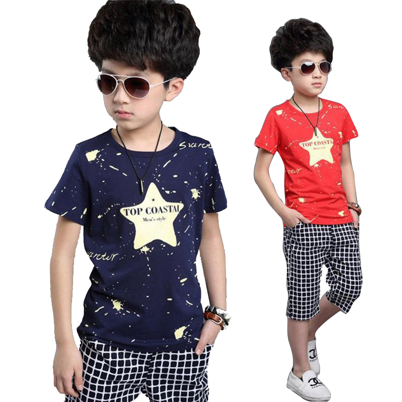 2016 Summer Children Kids Boys Clothes Sets Cartoon Boys T-Shirt + shorts sport suit Baby Boy Clothes Fit 4-10 years old(China (Mainland))