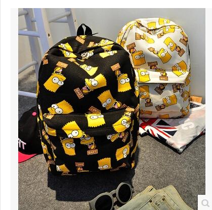 Design 2015 Harajuku Simpson Print Women Double-shoulder Bag Canvas Women's Travelling Men's Backpacks School Bags - Waiting for you JL store
