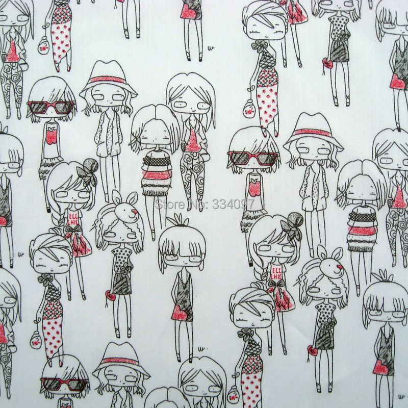 1.5 meter Soft Cotton Fabric Skirts, shirts, clothing - Cute girls white(width=145cm) kidsmile's zakka and fabric store