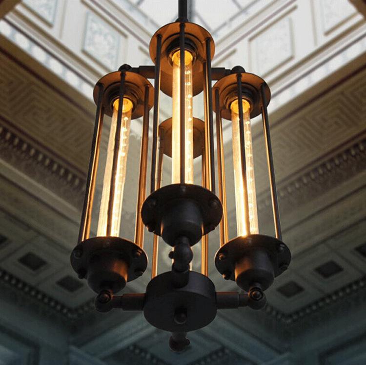 Loft Style 4 Flute Vintage Pendant Lamp Creative Bar Industrial Style Pendant Lighting Wrought Iron Edison Art Deco Lighting<br><br>Aliexpress