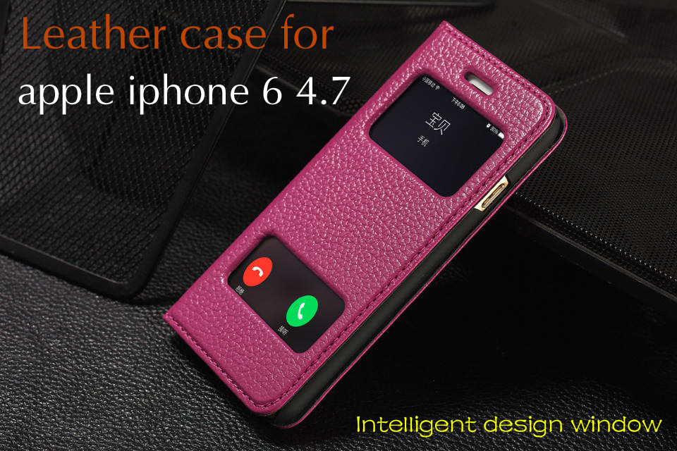 4.7 inch Smart window leather flip phone Leather Case For Apple iPhone 6 Cases Luxury Genuine Leather shell For iphone6 i6 Cover(China (Mainland))