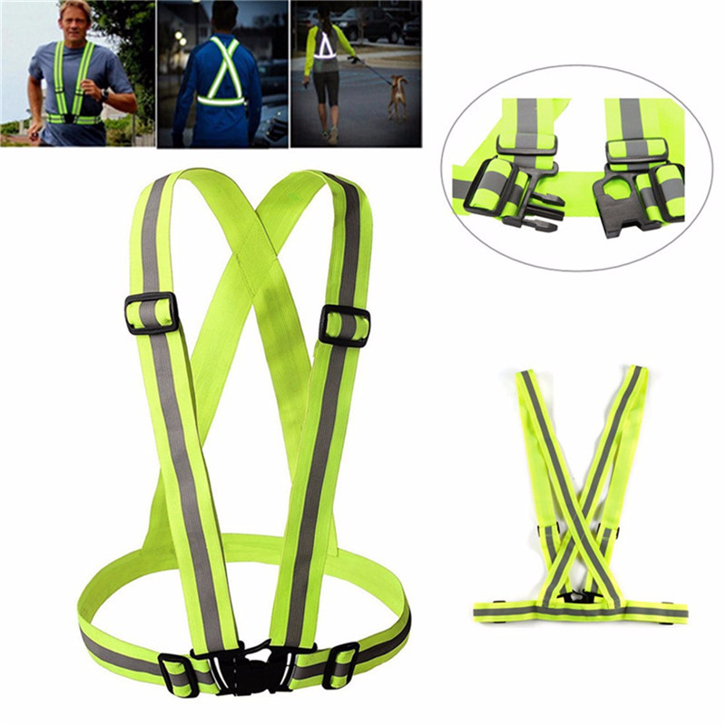 Unisex Safety Visibility reflection vest Waistcoat Outdoor Run Cycling Harness Adjustable Reflective Belt Jacket Gear Stripes - JINGLESZCN Store store