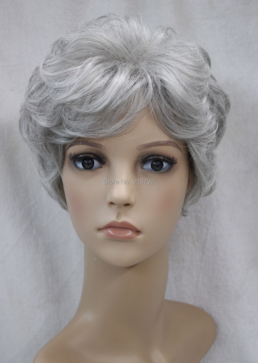 Wholesale YF&amp;Q&gt;&gt;White + gray Mix Short Curly Middle-aged / Older Women Female Hair Wig<br><br>Aliexpress