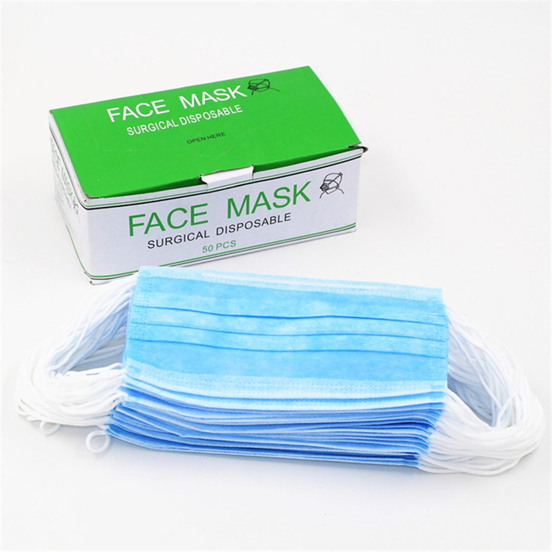 50pcs/Box Blue Disposable Medical Dustproof Surgical Face Mask 3 Layer Ear Looped Anti Dust Germ Gauze Masks For Tattoo Supply(China (Mainland))