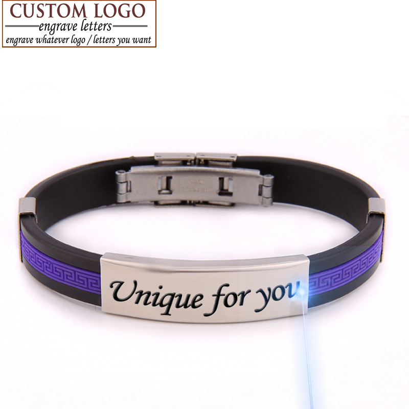 Fine jewelry love bracelets diy unique gift couple bracelet for women men jewelry rubber ID bracelet customized logo engraving(China (Mainland))