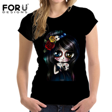 Buy FORUDESIGNS 2017 Women Summer Tee Tops Skull Print Fashion Tops Cool Black T Shirt Woman O-Neck Short Sleeve Plus Size T-shirt for $15.29 in AliExpress store