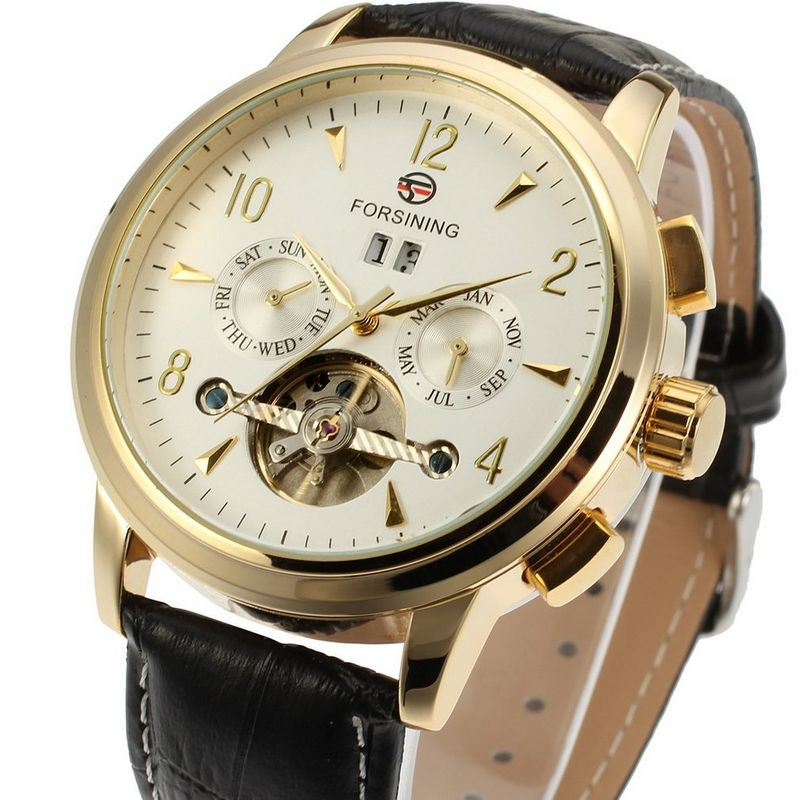 Fashion FORSINING Men Luxury Brand Business Genuine Leather Strap Watch Automatic Mechanical Wristwatch Gift Box Relogio Releges(China (Mainland))