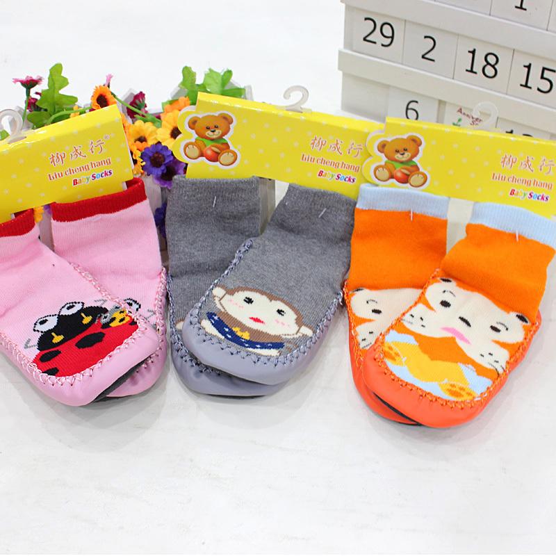Children's Infant Cartoon Socks Baby Gift Kid's Indoor Floor Socks Leather Sole Non-Slip Thick Towel Socks(China (Mainland))