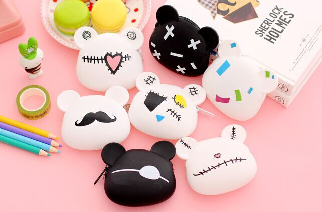 Kawaii 9*9CM 7Models - Little Bear Silicone HAND Coin BAG Purse ; Key Wallet Pouch BAG Holder ; Gift Coin Purse Wallet(China (Mainland))