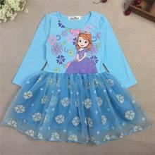 2015 Autumn New Girl Dress 2286 Children Clothes Sofia Cartoon Long Sleeve Fashion Dress For Girls (China (Mainland))