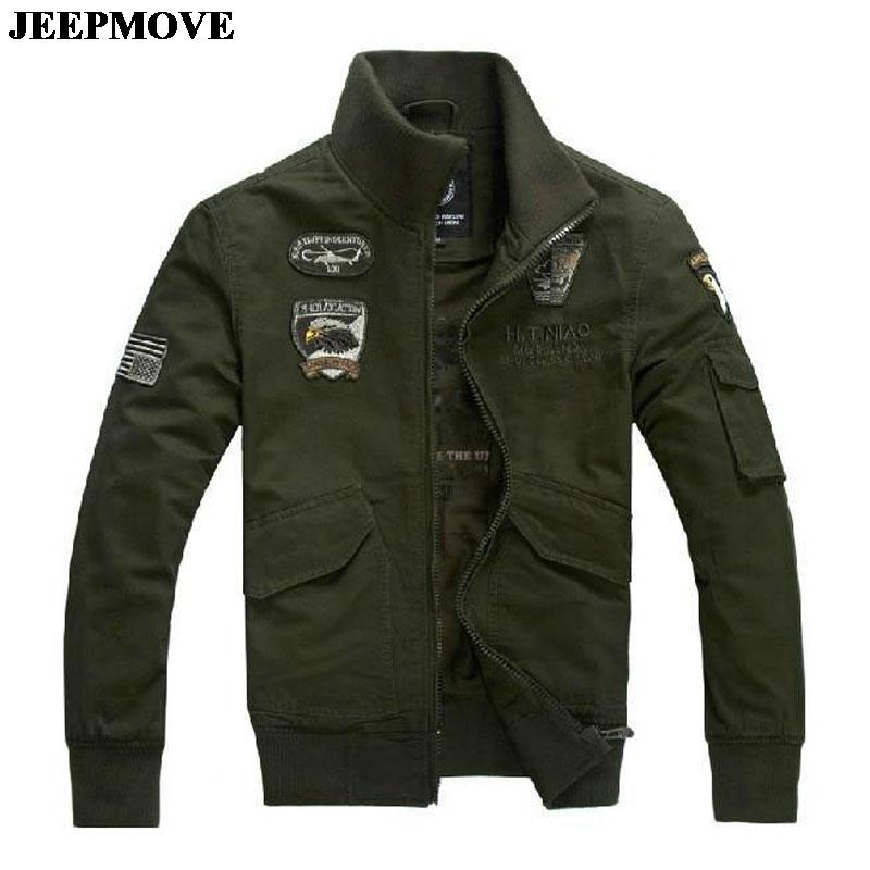 military uniform US Air Force men's jacket winter thicken jackets men army green full cotton stand collar frock coat L~4XL(China (Mainland))