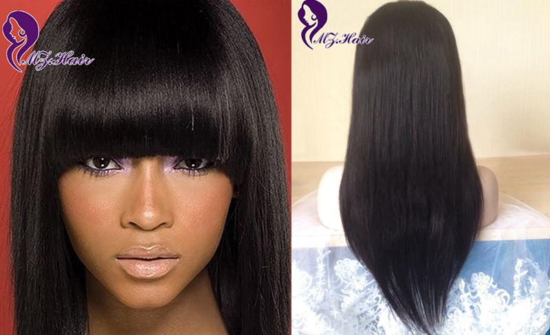 Brazilian Human Hair Full Lace Wig Peruca Cabelo Humano Silk Straight Cheap Human Hair Wig Full Bangs Glueless Lace Front Wigs(China (Mainland))