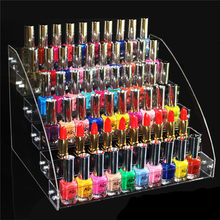 2/3/4/5/6/7 Tiers Clear Makeup Cosmetic Acrylic Organizer Lipstick Jewelry Display Stand Holder Nail Polish Rack 31x31x25cm(China)