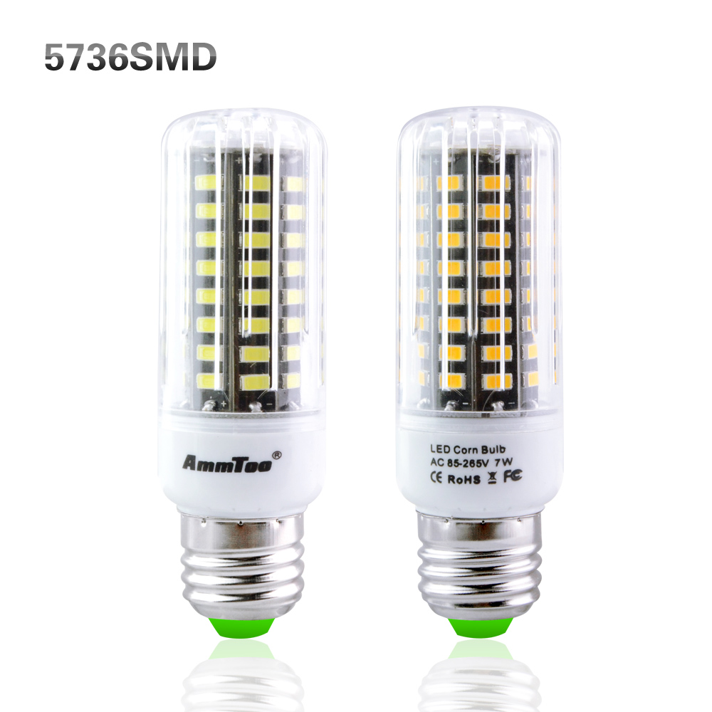 6Pcs 5736 SMD Brighter Than 5730 LED Corn lamp 3W 5W 7W 9W 12W 15W E27 E14 E12 Bulb light 85V-265V No Flicker Constant Current(China (Mainland))