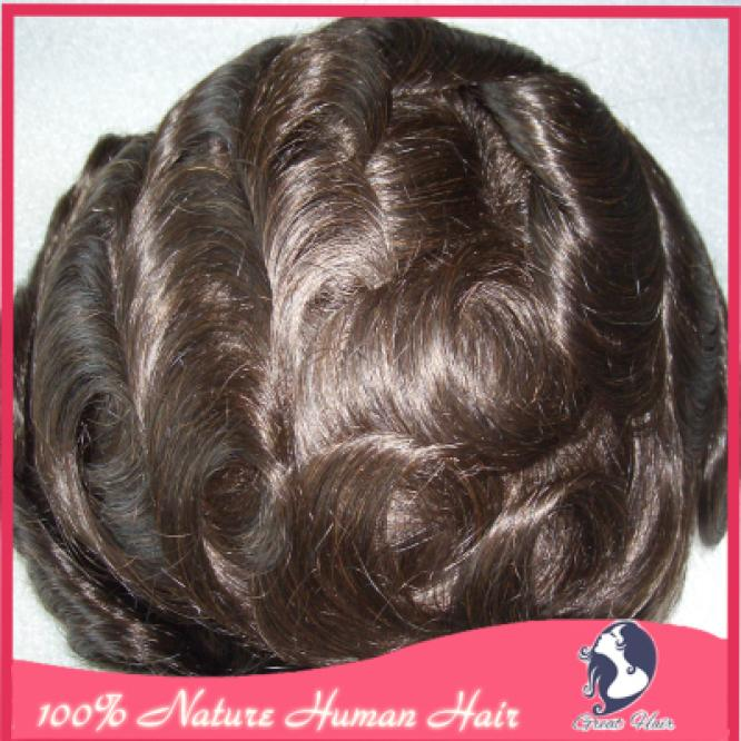 Quality 100% Human Hair French Lace Front MONOFILAMENT Mens Toupee New WITH 3/4 POLY PERIMETER  Base Size: 7 x 9inch<br><br>Aliexpress