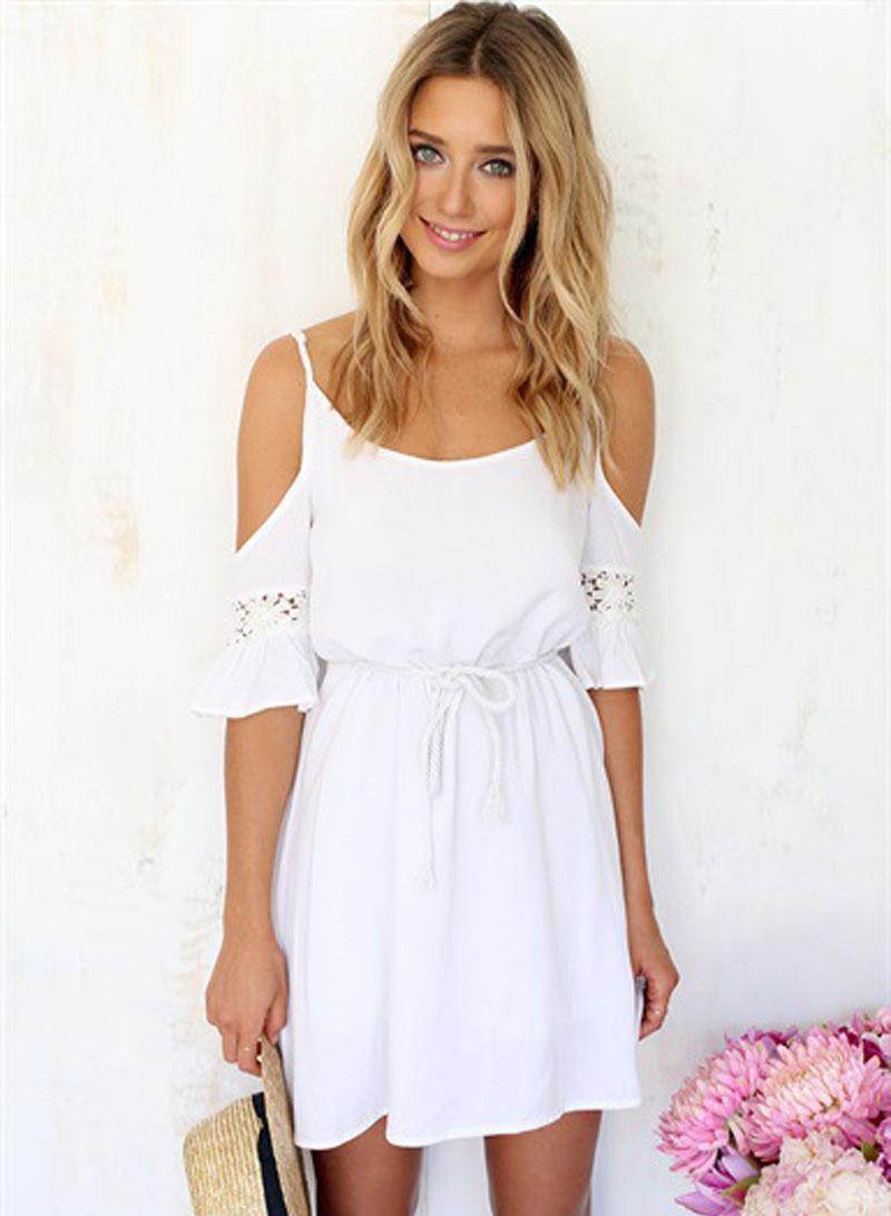 White short sleeve tunic dress