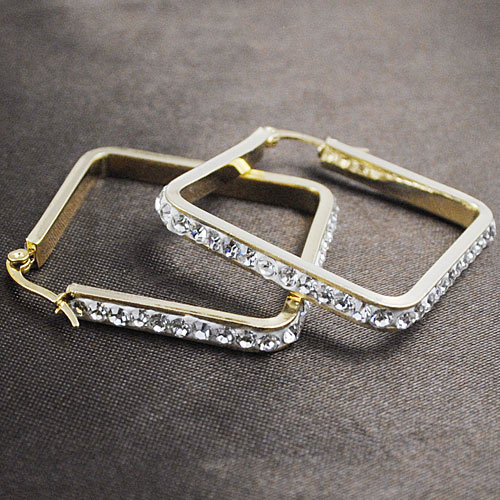 Fashion Rhinestone Crystal Earrings Square Stainless Steel Women Girls Jewellery For Fashion Party/ Wedding 2014 Free Shipping(China (Mainland))