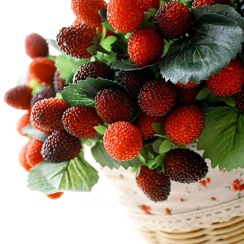 9 head fruit wild strawberries artificial fruit paddle for Artificial pears decoration