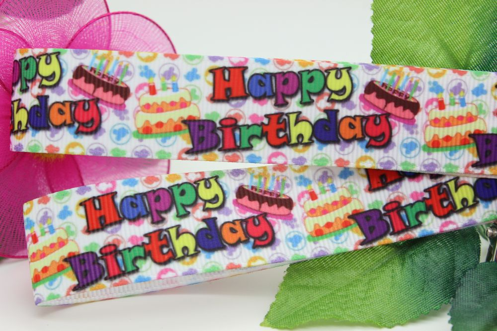 New 7/8'' Free shipping happy birthday printed grosgrain ribbon hairbow diy party decoration wholesale OEM 22mm P1335(China (Mainland))