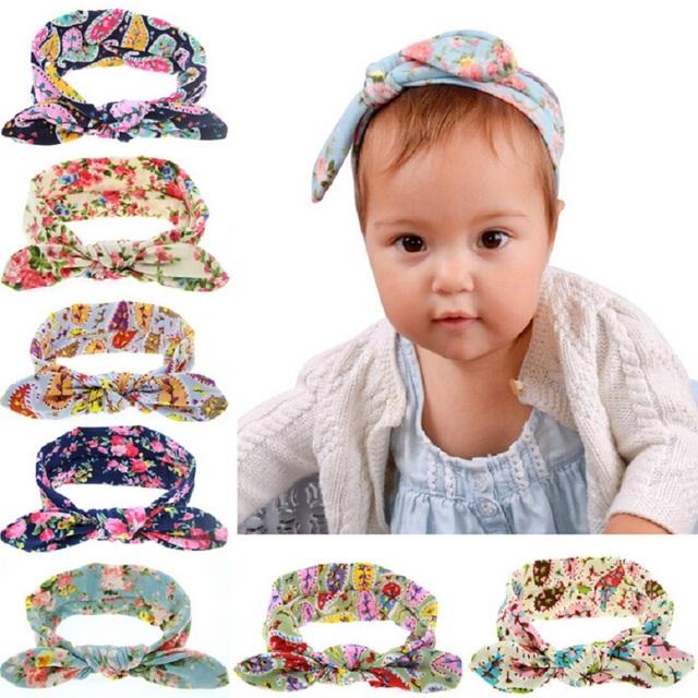 Мода ребенка новорожденных девочек цветок печать ободки дети девушки милый кролик ...