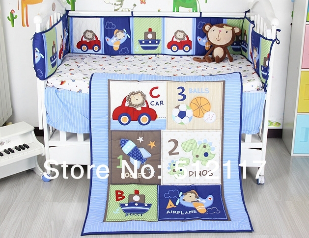hot sell 2014 New Blue Cars Airplan Boy Baby Crib Cot Bedding Set 3 items Including Comforter Bumper Fitted Sheet(China (Mainland))