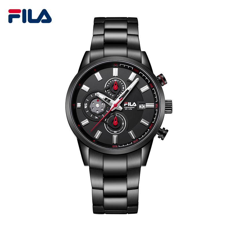fila top luxury brand fashion stainless steel leather strap 3 timer circles dial quartz men