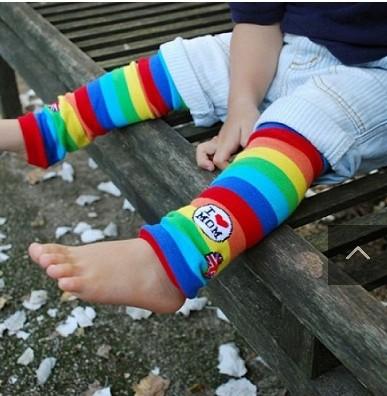 Lot rainbow strips i love mom baby leg warmers baby socks brand kids