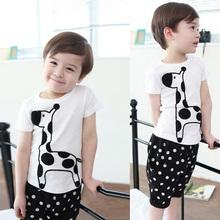 Children Boy Baby Giraffe Print Tops Shirt + Dots Short Pants Sets Kids Clothes 2PCS Suit