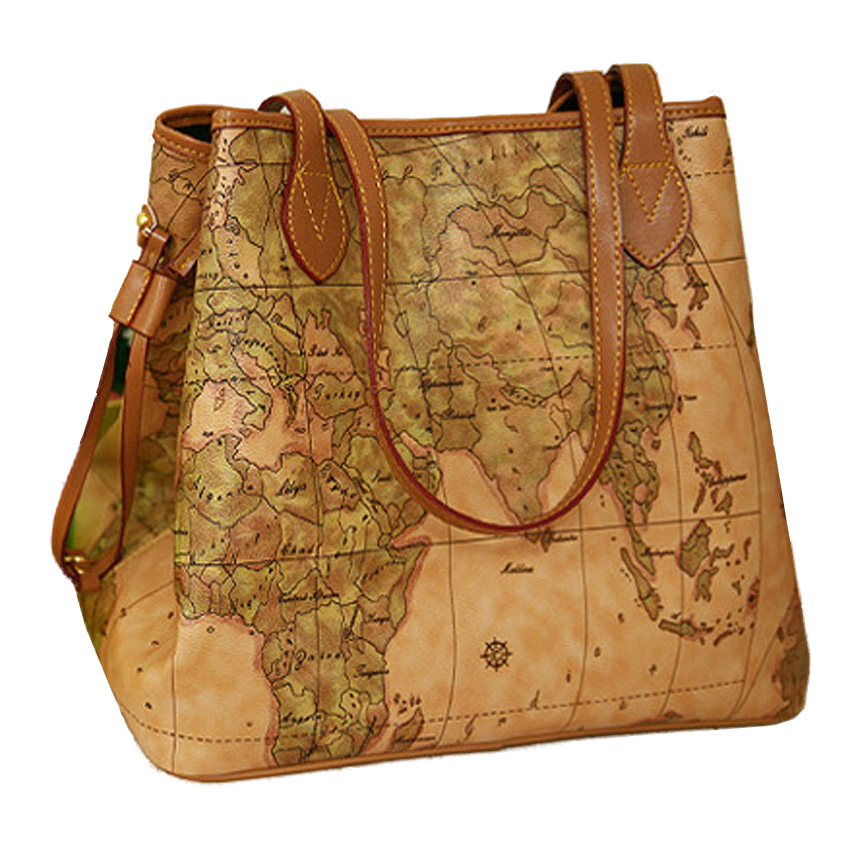 New famous brand Women handbags Bolsas women's shoulder bag Women pu leather handbags vintage printing map bag ladies QT368(China (Mainland))