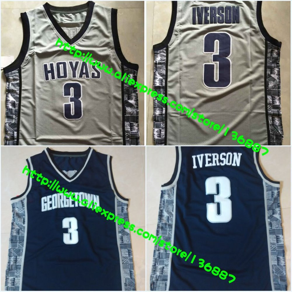 Georgetown Hoyas #3 Allen Iverson,NCAA College Basketball Jerseys,2015 New Throwback Retro Jersey,Embroidery logos,Free Shipping(China (Mainland))