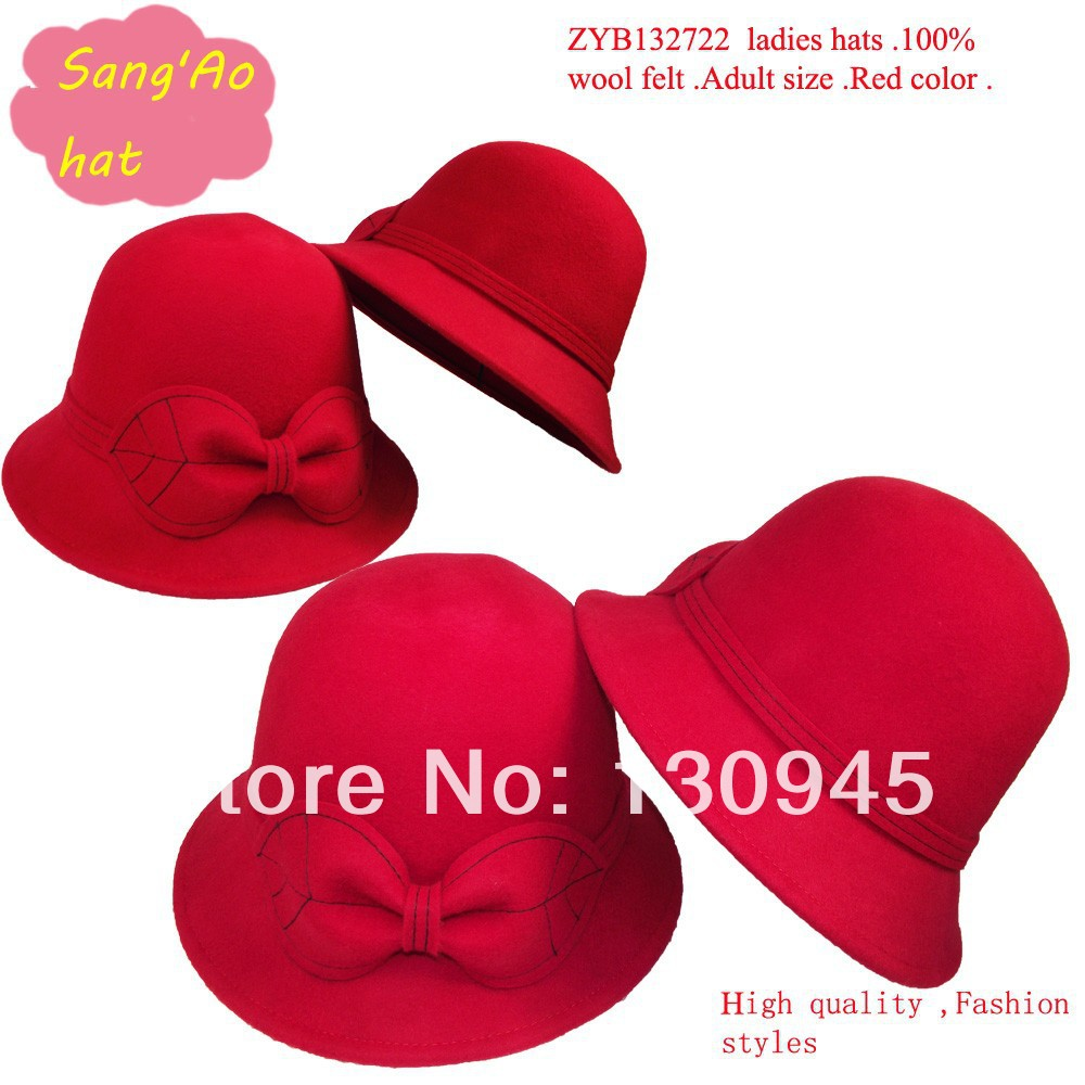 Special sell Red felt bucket hats for ladies and women100% wool felt wear in winter ,fall ,spring and topee and keep warm(China (Mainland))
