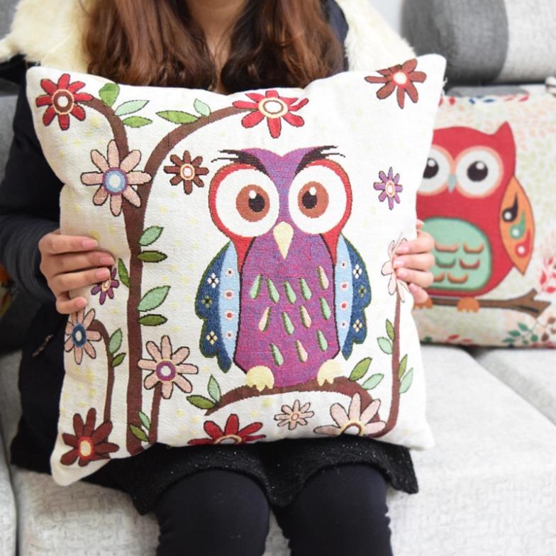 0131 2 Embroider clever owls kids bedding set comforter bedding set single pillow case decorate throw pilloecase(China (Mainland))