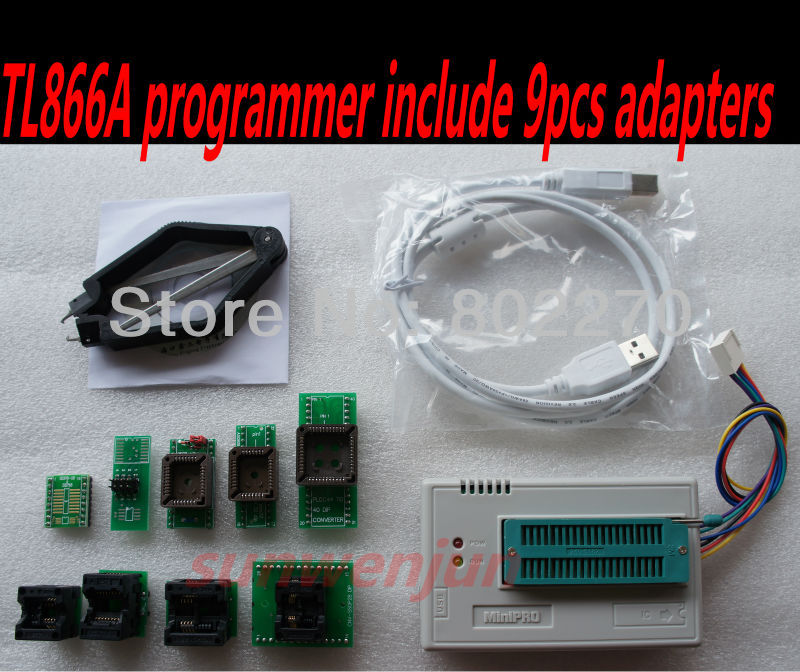 Гаджет  Russian MiniPro TL866A Programmer + 9 pcs adapter can ICSP SPI in-circuit program/support  13000 chips/support WIN7 64 bit None Электронные компоненты и материалы