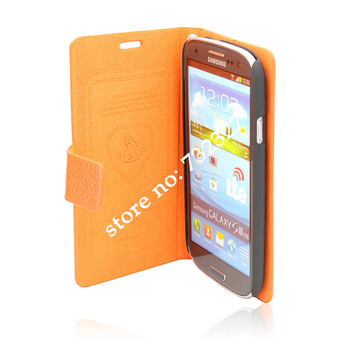 2013 Best Selling Fashionable Simple Leather Made Phone Cover for Samsung S3 Good Price with Free Gifts