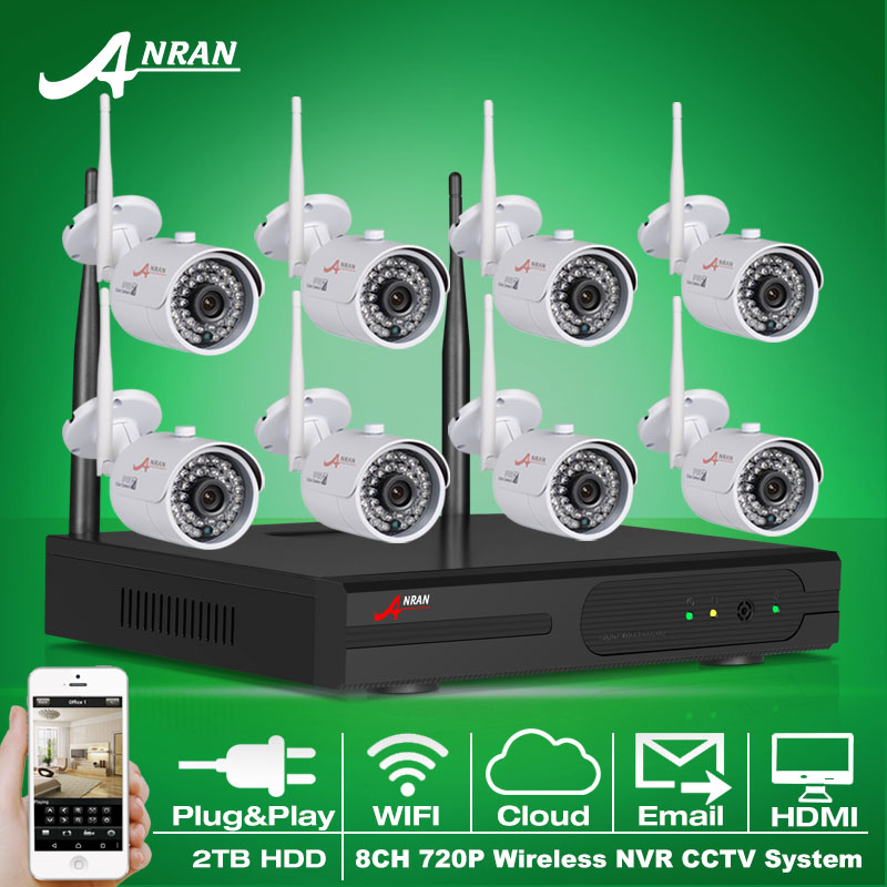 Plug And Play 8CH CCTV System Wireless NVR Kit P2P 720P HD IR WIFI IP Camera Outdoor Security Camera Surveillance System 2TB HDD(China (Mainland))