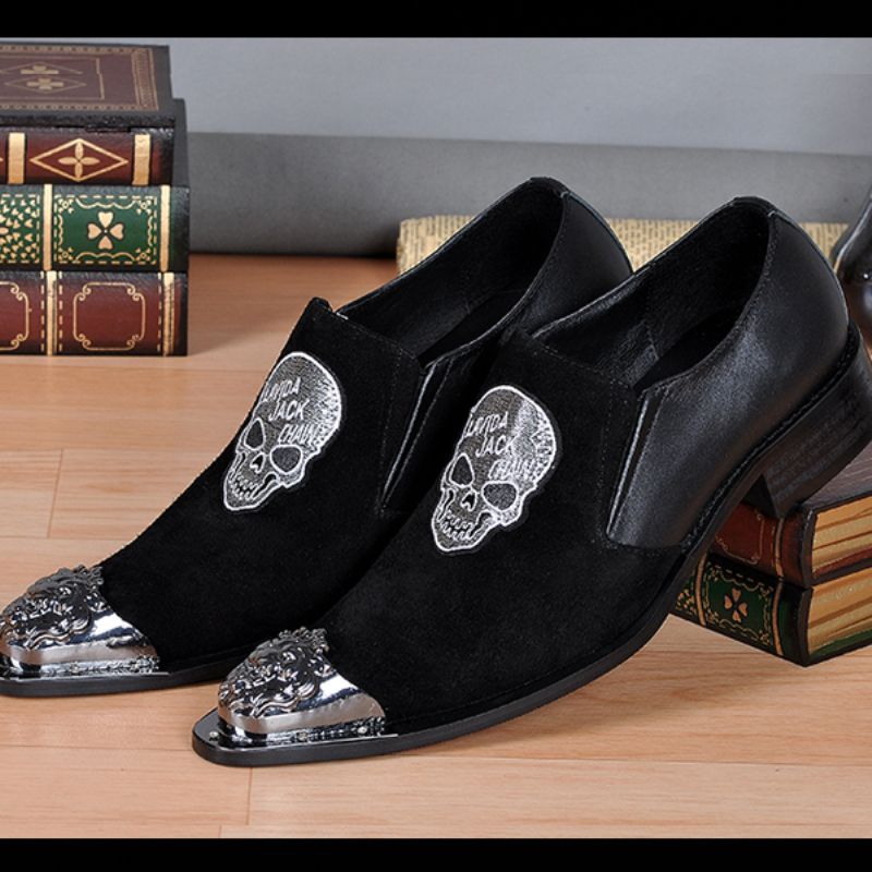 2016 Men Dress Shoes Oxfords Genuine Leather Loafers Metal Tip Suede Skull Glitter Mens Eveing Party Shoe Size 38-46