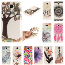 Silicon Case HUAWEI Ascend Y3 Y5 Y6 2 II Enjoy 5 P8 Lite P9 Honor 8 Crystal Clear TPU Back Cover w Flower Tree Design - 3C Store02 store