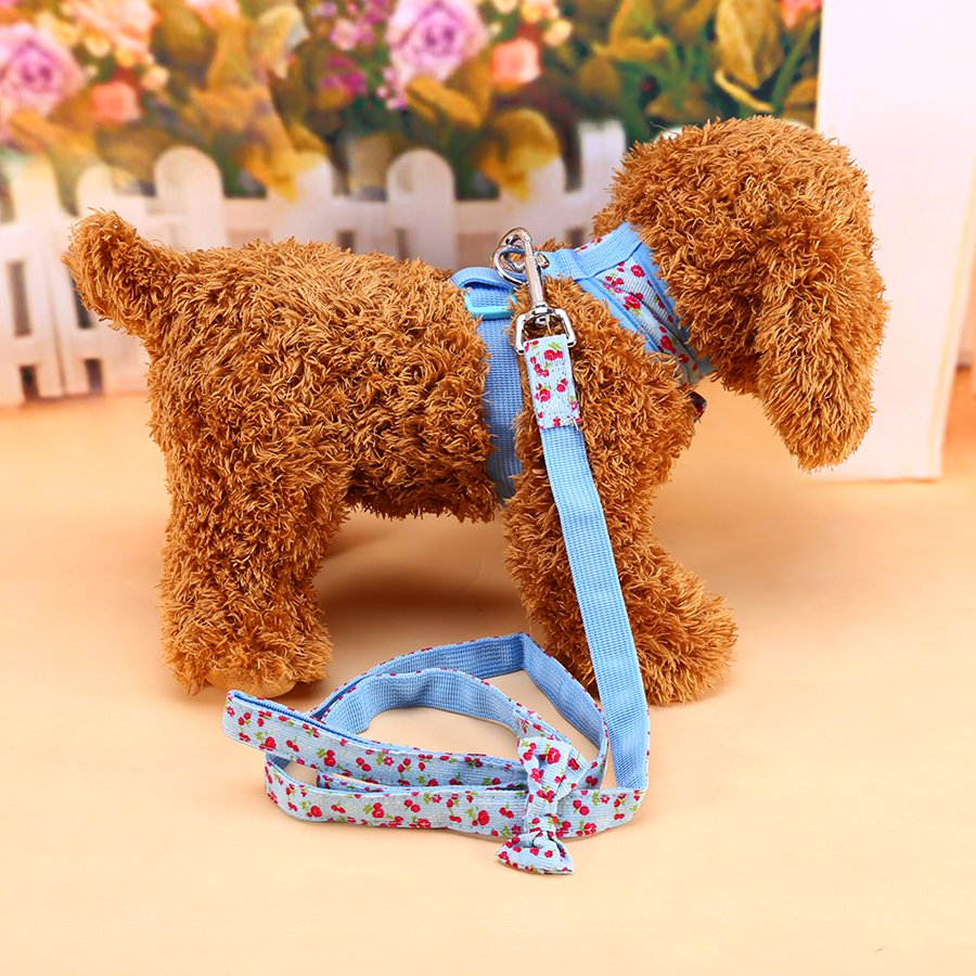 Cute Floral Pattern Tiny Small Dog Chest Strap Harness With Leash Pet Cat Dog Collars 1 Color(China (Mainland))