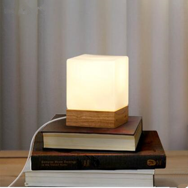 modern table lamp wood base and white square glass lamp shade led indoor ligh. Black Bedroom Furniture Sets. Home Design Ideas