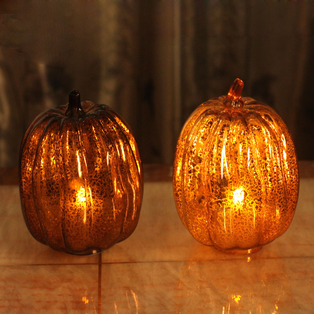 Home Impressions Harvest Glass Pumpkin Led Light Lantern with Timer,Autumn style,Home Decorations(China (Mainland))