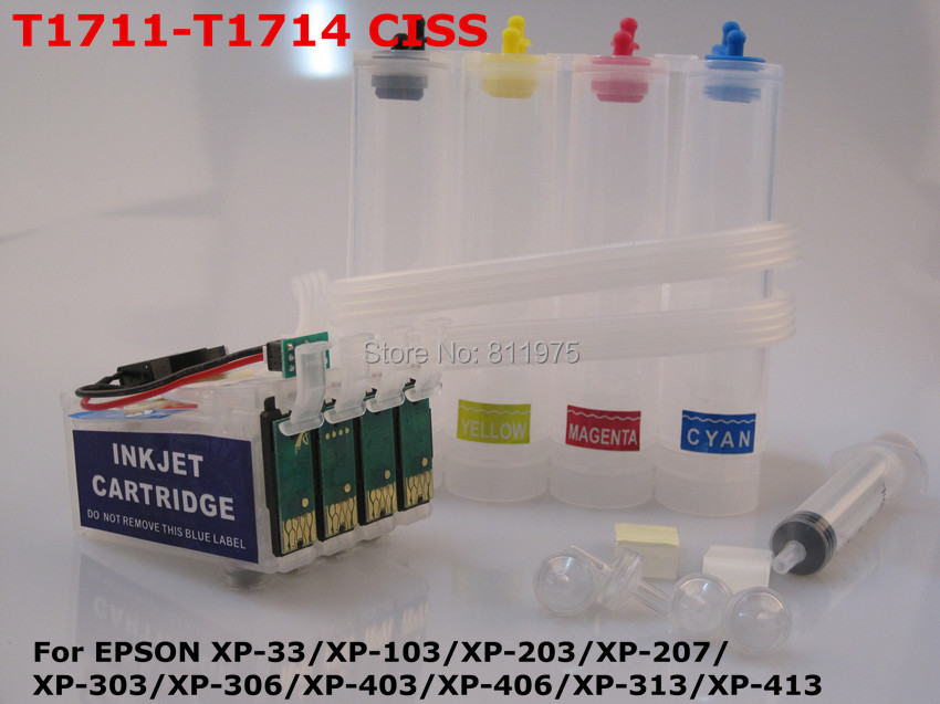 T1711 CISS Continuous Ink Supply System For epson XP-33/XP-103/XP-203/XP-207/XP-303/XP-306/XP-403/XP-406/XP-313/XP-413 printer<br><br>Aliexpress