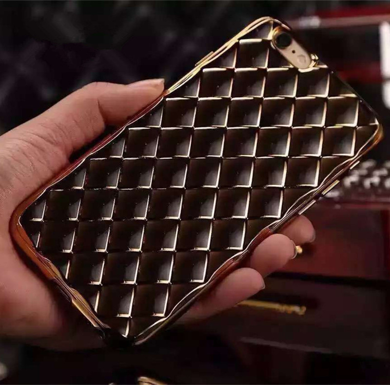 New products glitter grid gold mobile phone case for Huawei P8 lite P9 plus good quality transparent Gel cover(China (Mainland))