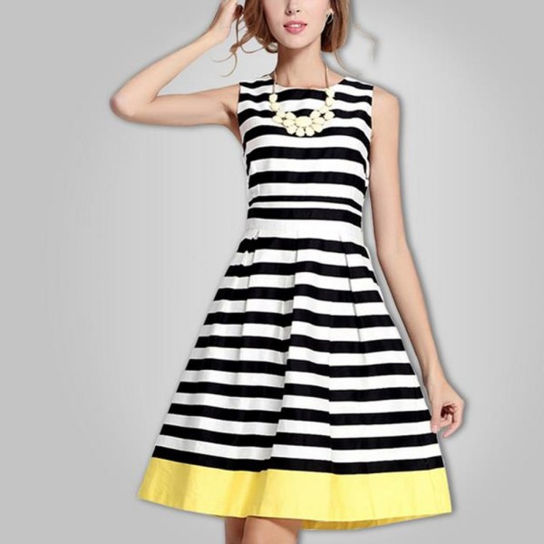 Summer Style Women Vestidos Dress Sexy Vestido Dresses Products Black White Striped Yellow Hem Dressing(China (Mainland))