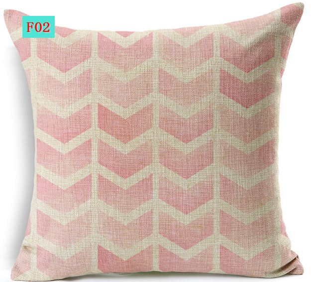 Blue wave cushion cover pink zigzag throw pillows decorative stylish pillowcases vintage shabby ...